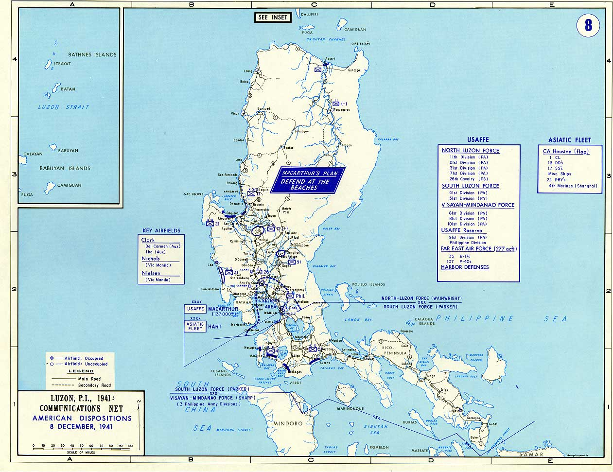 Map Of Luzon, Philippine Islands 1941   With Overlay Of Communications Net  American Dispositions 8 December 1941